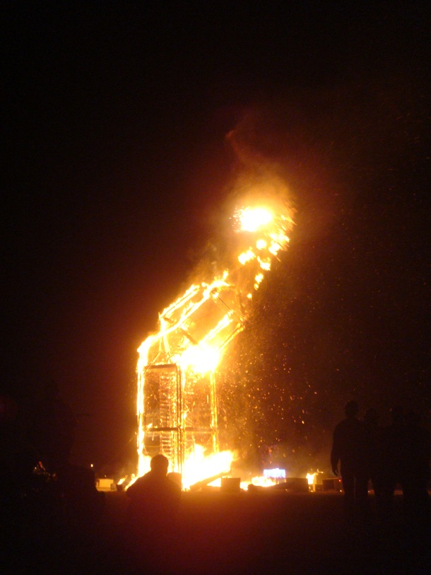 burning man collapse