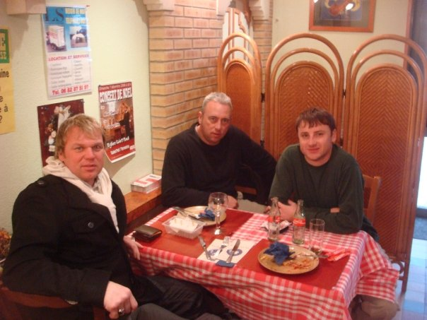 Andrew Drury, Justin Ames and Nigel Green relaxing in a pub