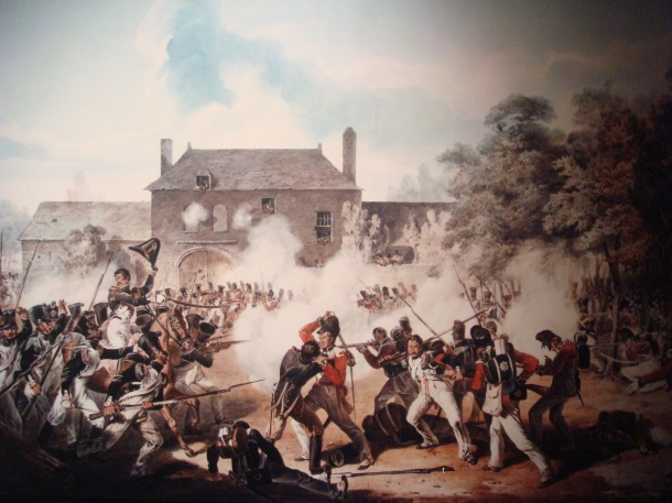 Watercolor painting of the battle at the Chateau of Hougoumont - also known as Hougoumont Farm