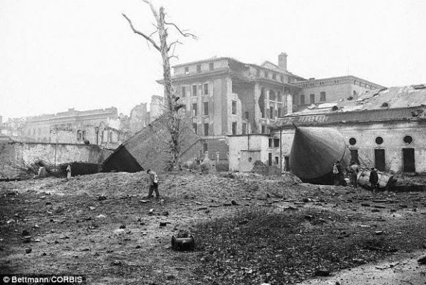 The site of Hitler's bunker in Berlin pictured in 1947