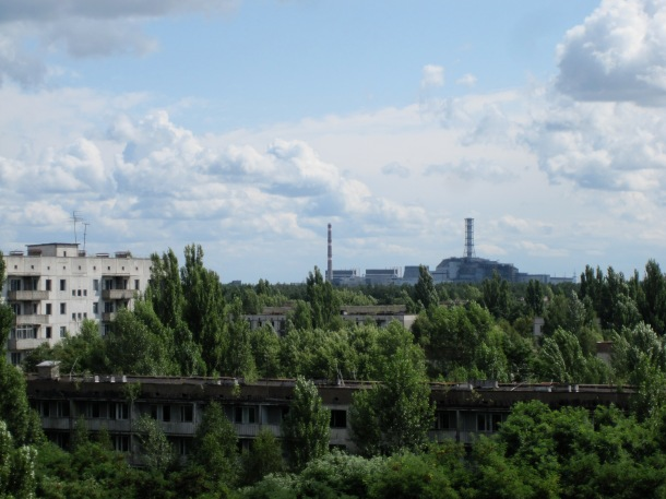 view of chernobyl from pripyat