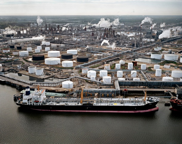 Oil Tanker and Refineries, Pasadena, Texas, USA