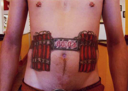 A suicide tattoo?  Suicide vest anyway...