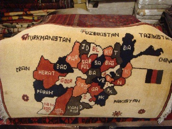Afghan carpet map in Peshawar, Pakistan