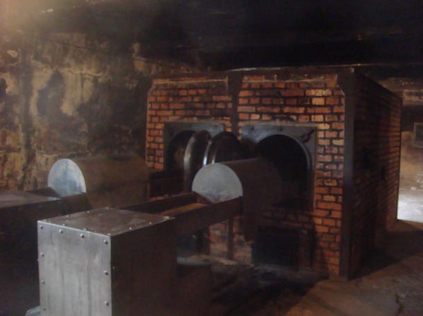 Ovens and devices to load bodies into ovens at Auschwitz death center