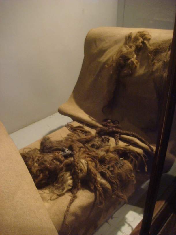 Cloth and blankets made from the hair of those murdered at Auschwitz and Birkenau
