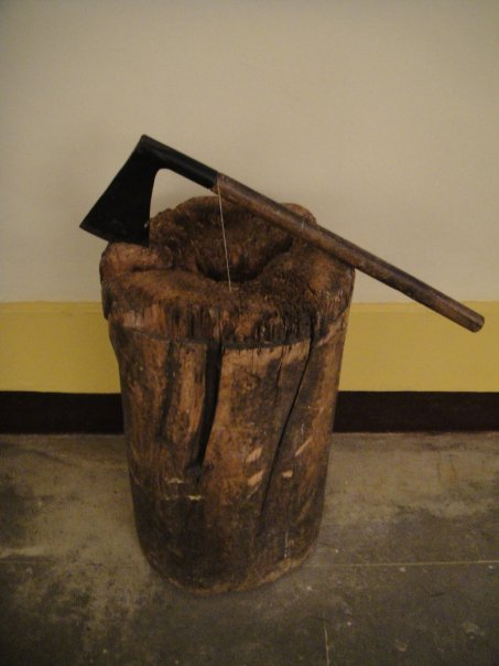 An executioner's block and axe in the Museo Historico Policia