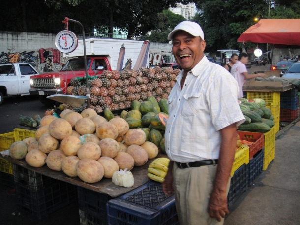 A fruit vendor in the barrios of Caracas