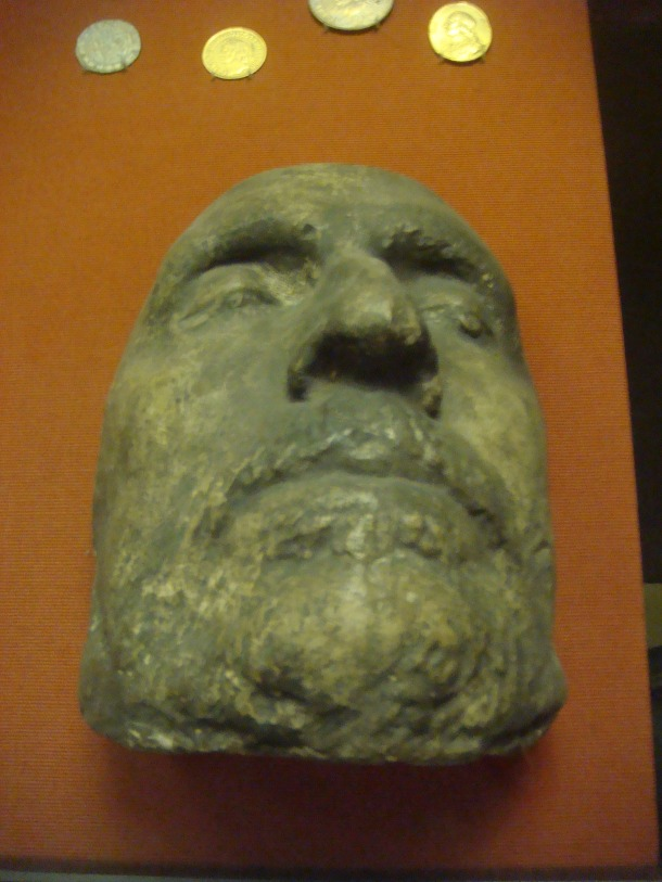 The death mask of Oliver Cromwell on display at the Museum of London