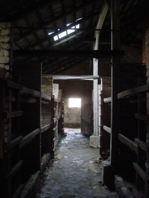Prisoners bunks inside Birkenau