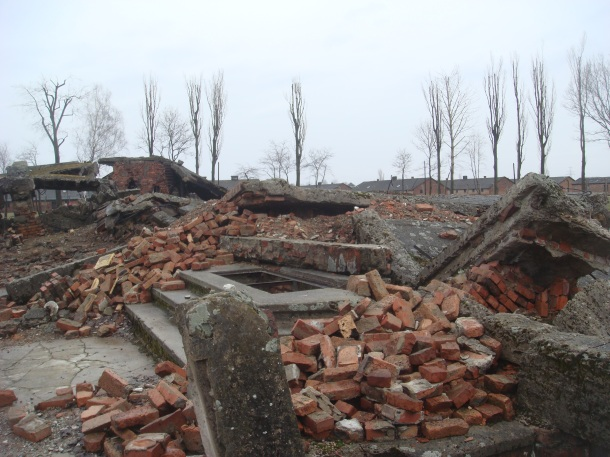 The remains of a gas chamber at Birkenau