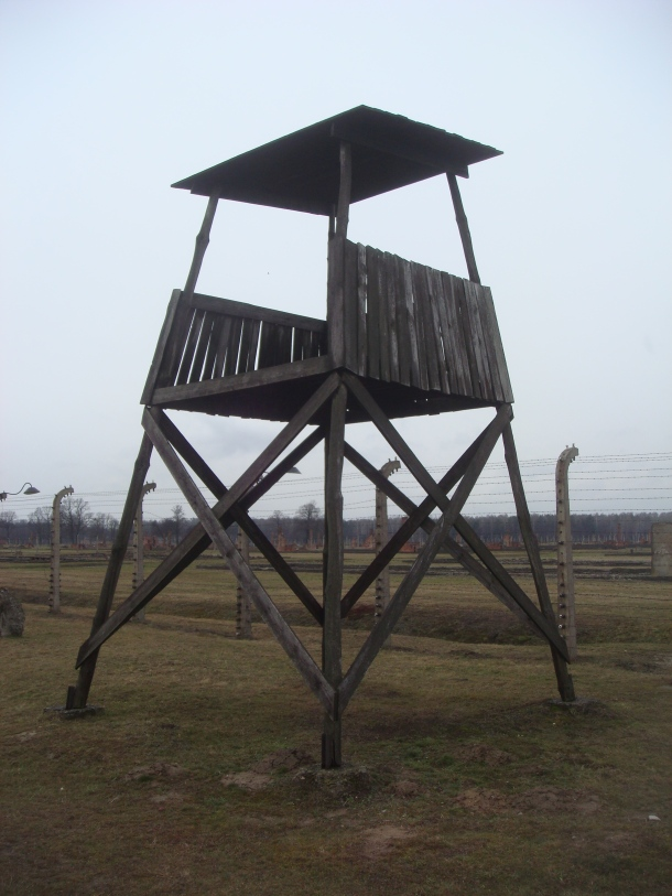 A sentry post at Birkenau