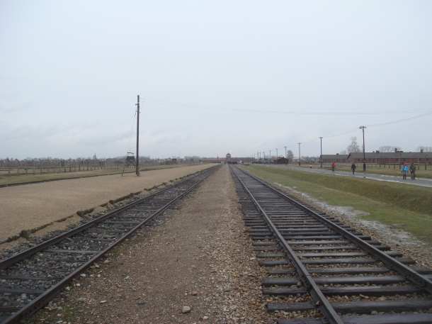 Train tracks into Birkenau