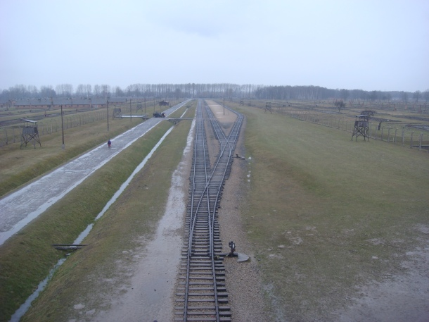 View over Birkenau from the death tower