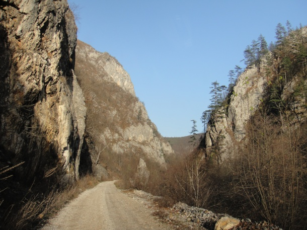 "M-5 in Bosnia - East Sarajevo - Republic of Srpska - Sjetlina - Podgrab - Praca - between Pale and Ustiprača - Gorge of River Prača - former narrow gauge ""Ostbahn"" railway"