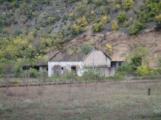 Burned Serbian homes in Bosnia