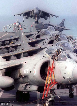 Sea Harriers like those used in the Falkland Islands conflict