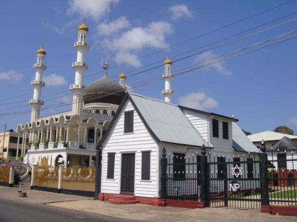 Mosque and Synagogue right next to each other in Paramaribo, Suriname