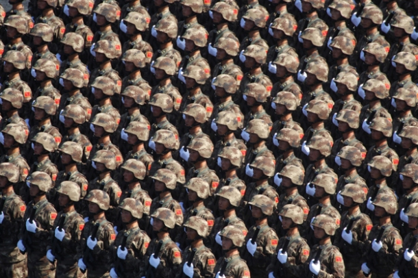 Chinese troops in formation