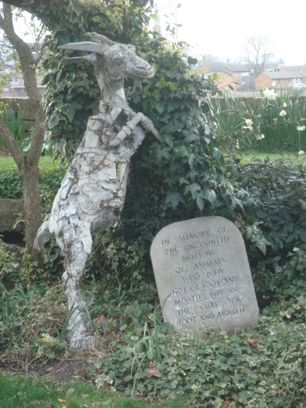 The memorial goat to foot and mouth hysteria in the United Kingdom