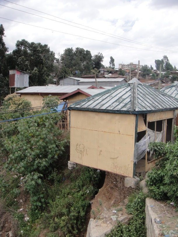 Collapsing house in Addis Ababa