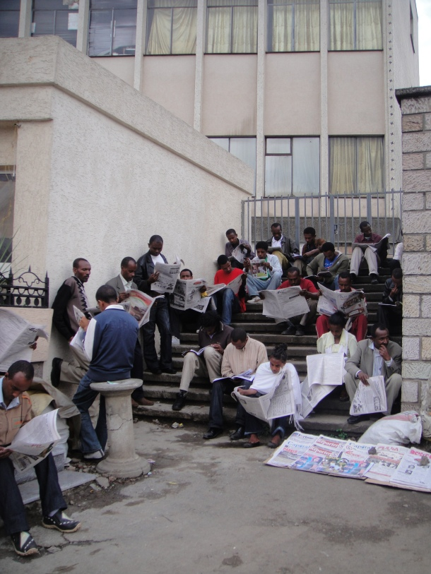 Newspaper crew in Addis Ababa