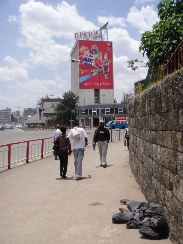 Sleeping in the street in Addis Ababa