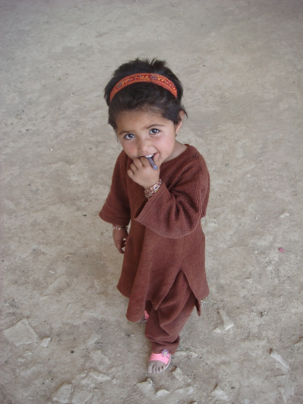 afghan girl on the outskirts of Mazar-i-Sharif