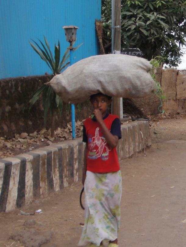 carrying goods on his head in Bahir Dar