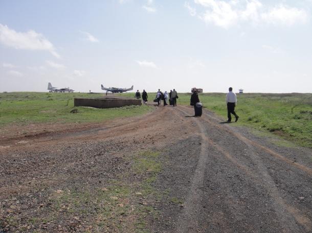 Walking to the airport terminal in Jijiga, Ethiopia