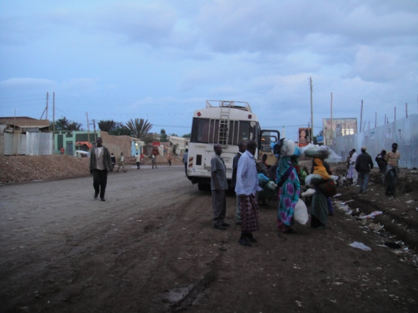 Jijiga street scene with bus in background