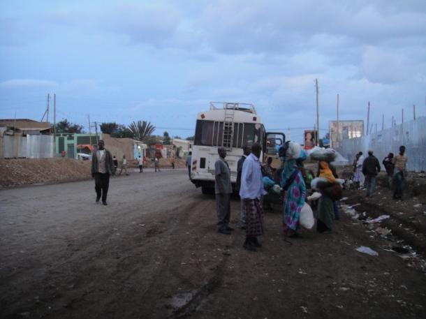 Jijiga street scene with bus in background
