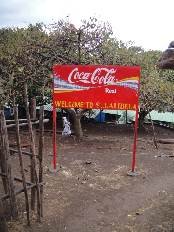 Coca Cola welcome to Lalibela sign