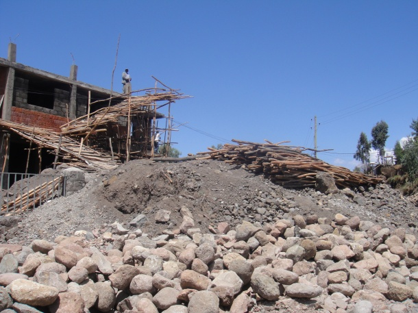 construction site along main road in Lalibela