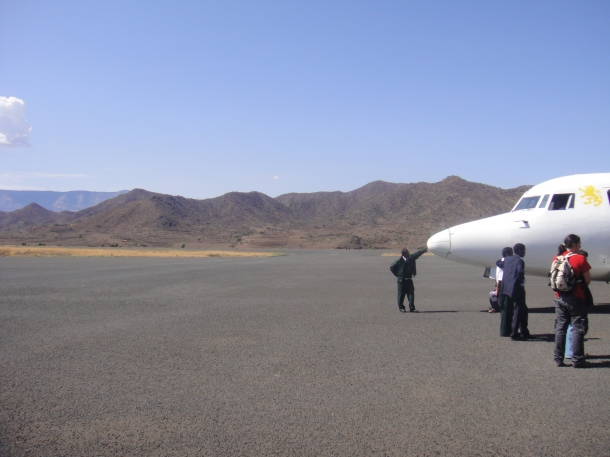Arriving at the airport in Lalibela