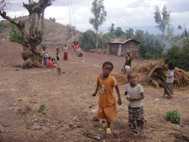 kids in village of Lalibela