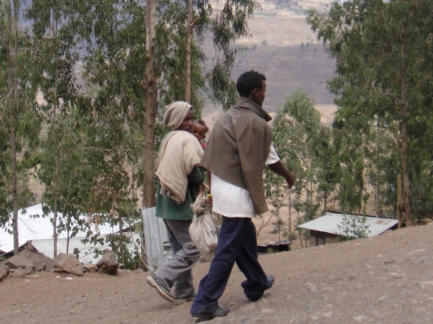 guys walking through Lalibela