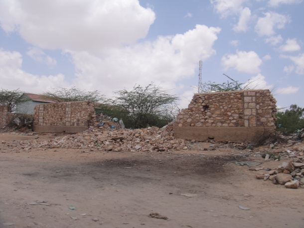 Bombed out buildings in the country of Somalia