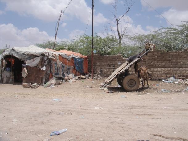 Small, primitive villages in Somalia