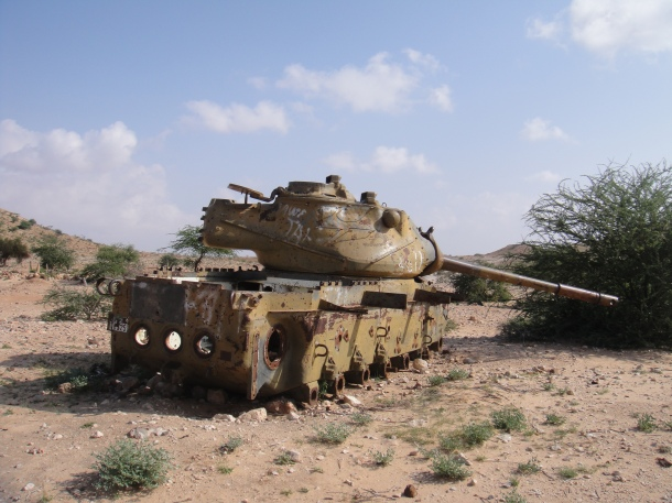 Bombed out tank in Somalia