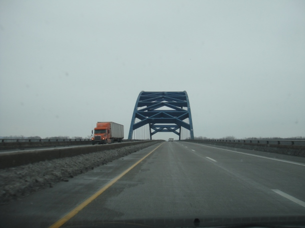 crossing the Mississippi River in Iowa on Interstate 80