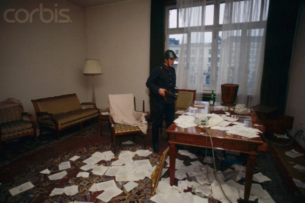 ransacked office bucharest 1989 revolution