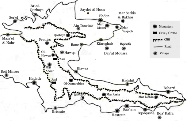 qadisha valley map