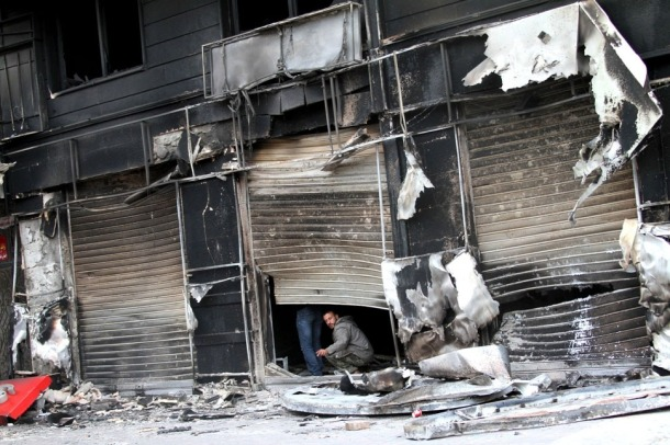 syria riot damage