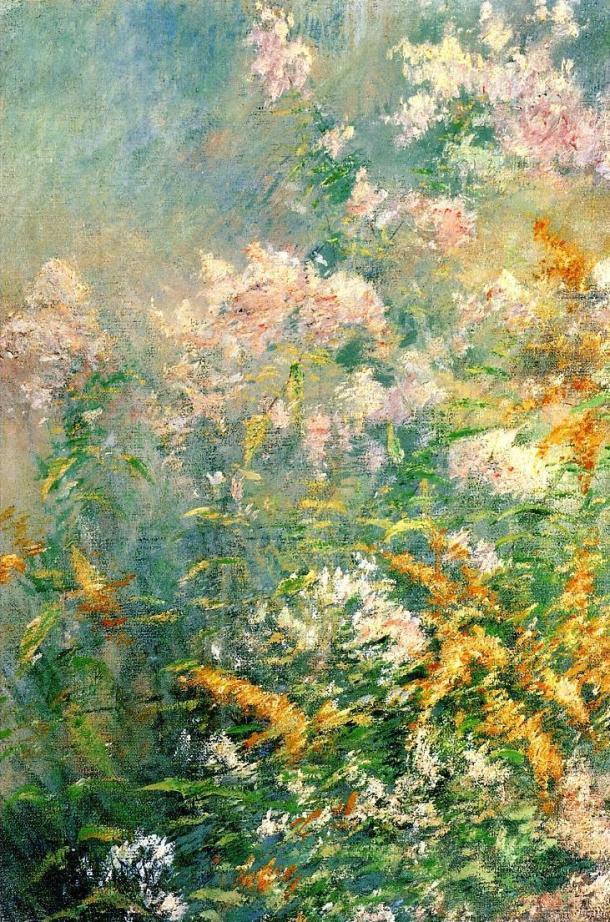 john henry twachtman meadow flowers golden rod and wild aster