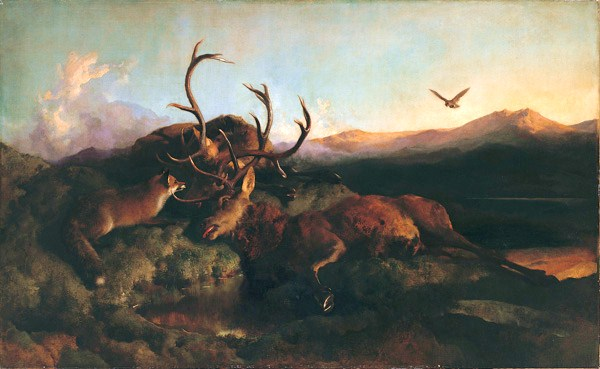 sir edwin landseer morning two dead stags and a fox