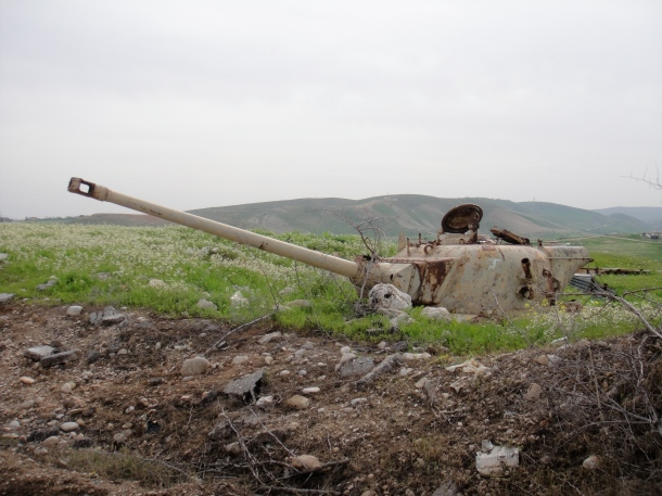 destroyed tank west bank