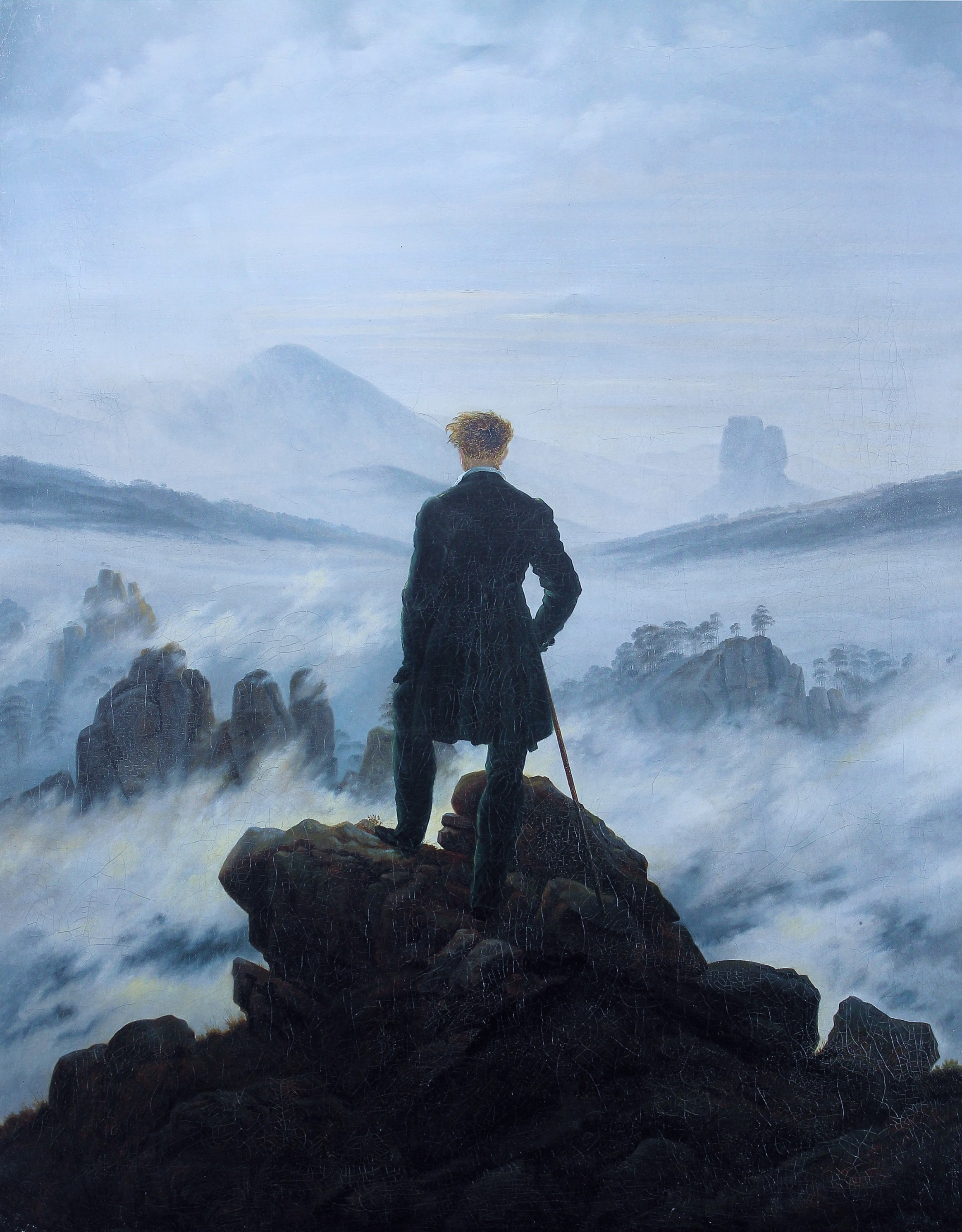 painting of the day the wanderer above the sea of fog the velvet rocket. Black Bedroom Furniture Sets. Home Design Ideas