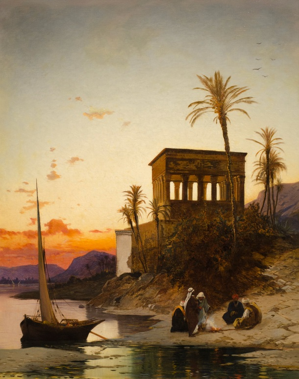 Hermann-David-Salomon-Corrodi-Campfire-by-the-River-The-Kiosk-of-Trajan-at-Philae