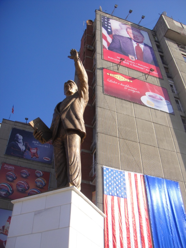 A statue of former American president Bill Clinton in the heart of Kosovo's capitol